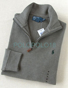 New Polo Ralph Lauren Pony Half Zip French Rib Sweater S M L XL 2XL