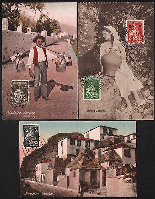 Madeira 1927/29, 3 verschiedene Ansichtskarten (Frankatur vorderseitig) -M8038-