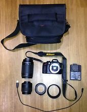 Nikon D3200-with 18-55mm/70-300mm lenses+bag/camera hoods-camera Bar Beach Newcastle Area Preview