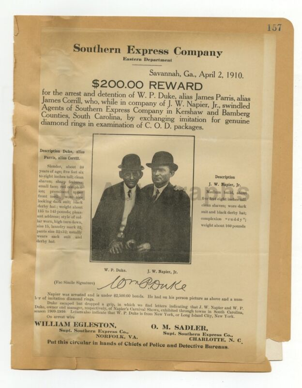 Wanted Posters - 2 Vintage Wanted Posters - Virginia, Pennsylvania - 1910