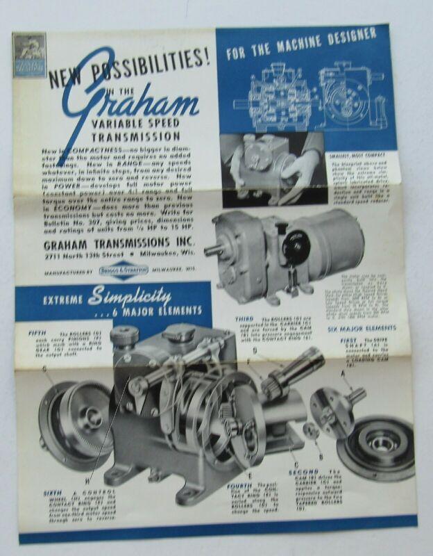 Graham Transmissions Bulletin Briggs & Stratton Milwaukee Wisconsin c 1938