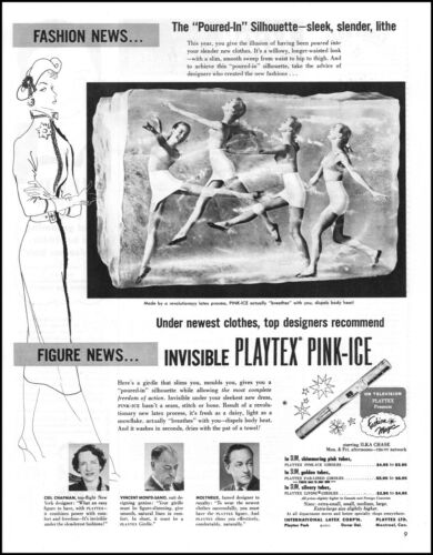 1951 Woman dancing in ice Playtex Pink-Ice bra girdle classic photo print ad L74