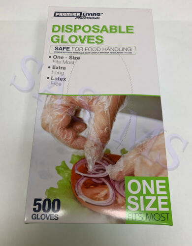 Disposable Gloves 500 Latex Free Clear Gloves Premier Living Professional New