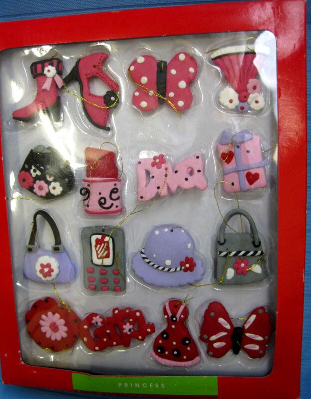 Mini Christmas Ornaments Personality Princes Girls North Pole Set of 16 Pinks
