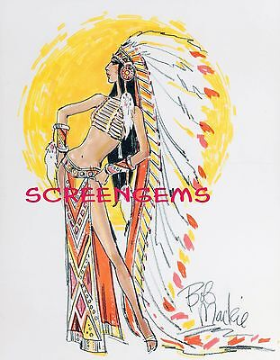 Sonny And Cher Costumes (CHER photo costume sketch Bob Mackie TV Sonny and Cher Half Breed Large !)