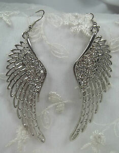 Silver Tone Long Dangle Angel Wing Earrings w Crystal Rhinestone Accent