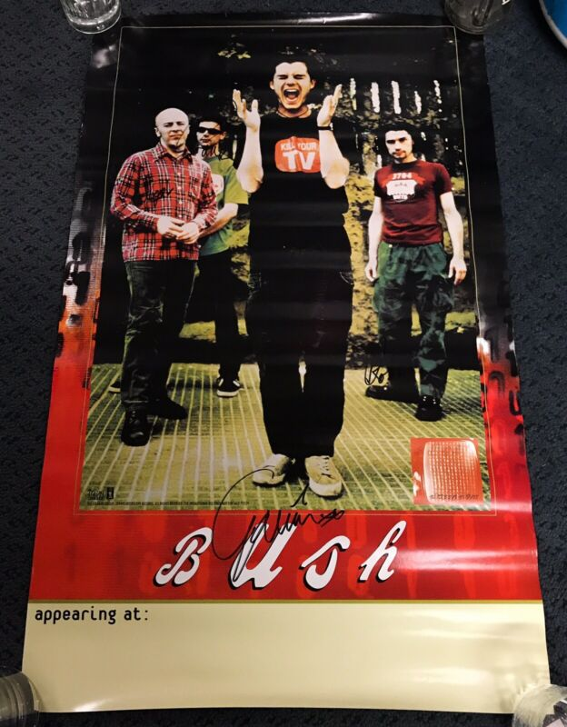 Vintage BUSH 1995 Sixteen Stone Poster Signed Autographed By The Entire Band