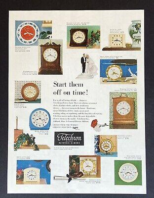 TELECHRON 578 time Clock Image Art 1949 Vintage Print Ad