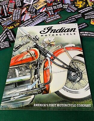 INDIAN MOTORCYCLE AMERICA'S 1ST Tin Metal Sign Wall w/ FREE PATCH decor vintage