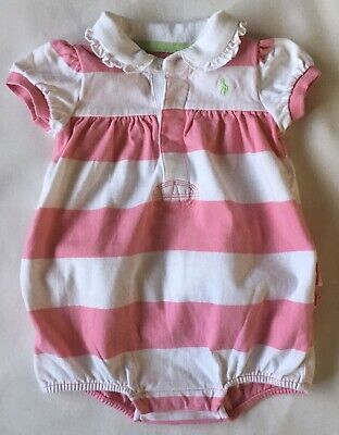 Ralph Lauren Polo Outfit Size 9 Months Pink White Polo Romper Baby Girls 1 Piece