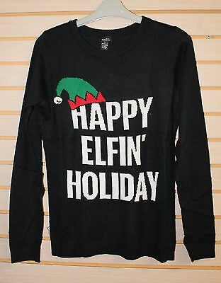 NEW WOMENS PLUS SIZE 3X FUNNY CUTE BLACK HAPPY ELFIN HOLIDAY CHRISTMAS SWEATER - Funny Christmas Sweater