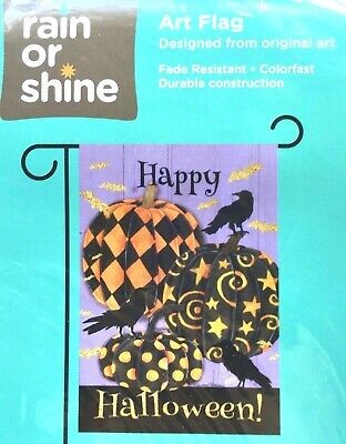 Small Garden Flag, Crows Gather Around Trendy Pumpkins, Free Shipping, NEW!