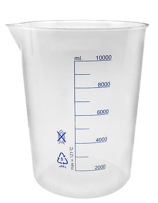 Beaker 10000ml Polypropylene With Spout - Blue Graduations - Eisco Labs