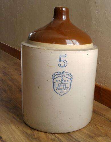 Antique 5 Gallon UHL Pottery Co. Acorn Wares Brown Top Stoneware Shoulder Jug