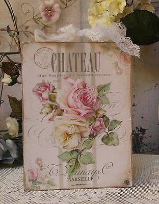 """Chateau Marseille"" Shabby Chic French Mother country Cottage style Wall Decor Sign"
