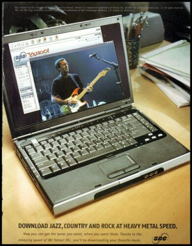 2005 Eric Clapton photo SBC Yahoo music laptop computer Print Ad  ads5