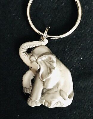 Pewter ELEPHANT Good Luck Fortune Silver Metal Figurine Keychain (Good Fortune Elephant)
