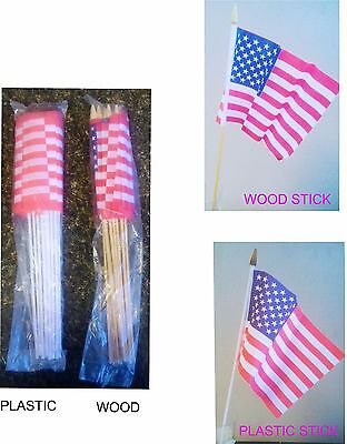 12 American Flags on a Stick  Flag 8.5 x 6 Patriotic USA July 4th Memorial 1-4b
