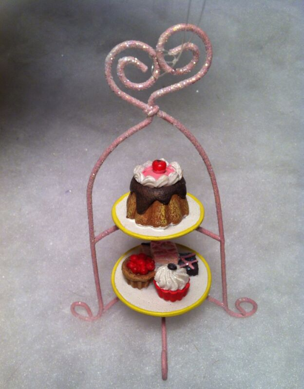 Pink cupcake tier with tray of desserts Christmas tree Ornament, bakery