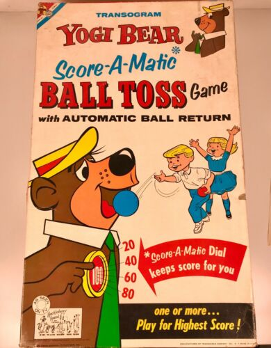 Vintage 1960 Transogram Yogi Bear Ball Toss Toy Game Hanna Barbera MIB Cartoon