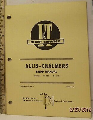 Allis Chalmers 5020 5030 Tractor It Service Shop Manual Very Good Solid Clean