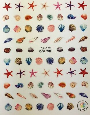Nail Art 3D Decal Stickers Shells Starfish Beach Summer Nautical - Starfish Shell