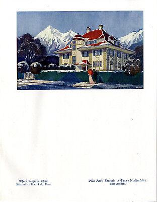 Villa Alfred Lanzrein in Thun Villa Straßenseite Max Lutz Histor.Kunstdruck 1913