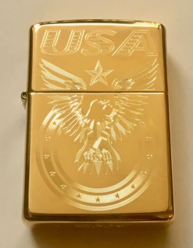 Zippo Windproof Engraved Eagle & USA, Patriotic Lighter, 25002B, New In Box