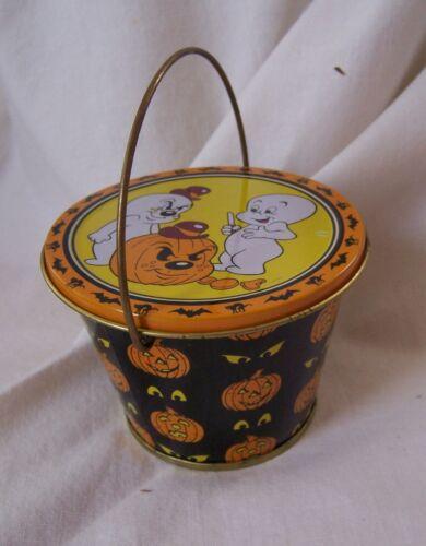 1986 Vintage CASPER GHOST & Spooky Halloween Mini Metal Tin Bucket Pail w/ Lid