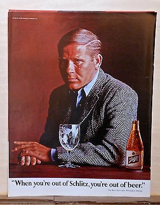 1966 magazine ad for Schlitz Beer - Sad teary man out of beer out of Schlitz