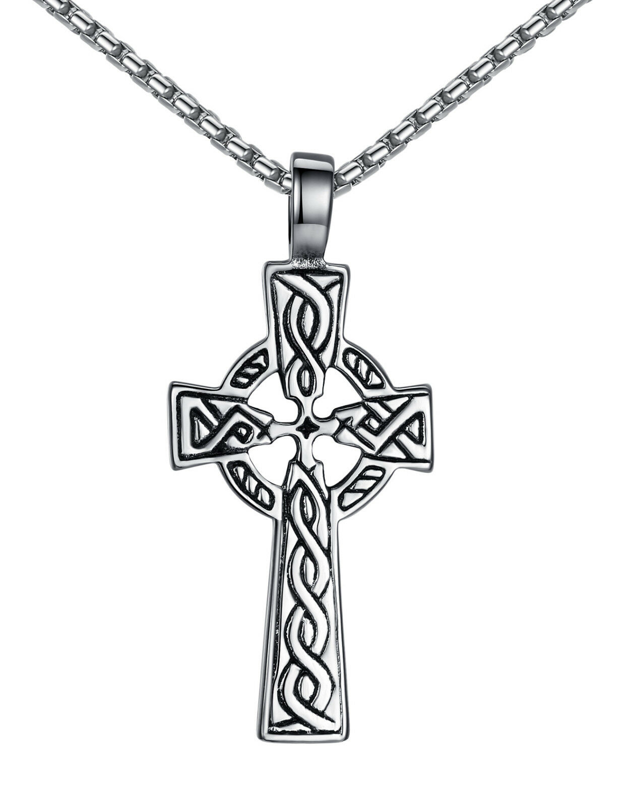 Stainless Steel Unisex Men's and Women's Small Celtic Cross Pendant Necklace Chains, Necklaces & Pendants