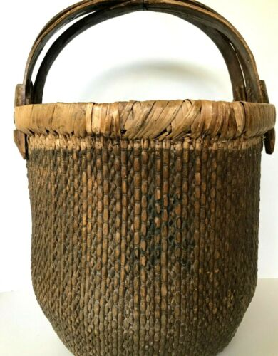 Antique Chinese Tall Woven Rice Basket Crisscross Wood Handles w/ Calligraphy