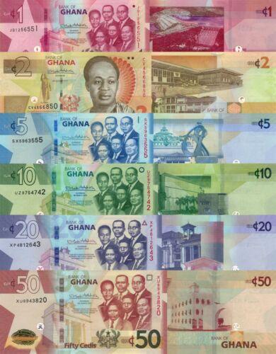 Ghana 6 Note Set: 1, 2, 5, 10, 20 & 50 Cedis (2017/2019) - p37-p42-New UNC