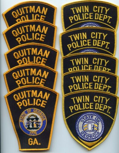 QUITMAN & TWIN CITY GEORGIA Patch Lot Trade Stock 10 Police Patches POLICE PATCH