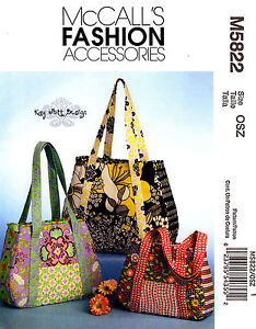 McCall's Pattern m5822 Bags Purses Totes Handbags sewing 5822