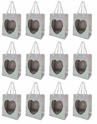 Silver Prism Heart Small Gift Bags (Set of 12) Cute Valentines Day, Wedding, NEW](Valentines Day Gift Bags)