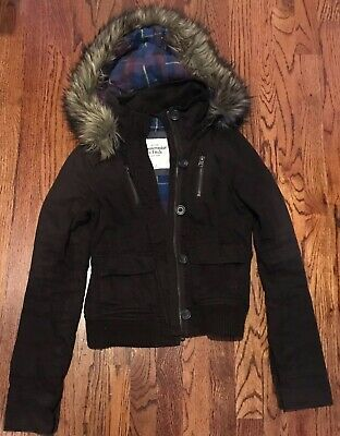 Abercrombie & Fitch Hooded Bomber Jacket Coat In Brown Women Size Small
