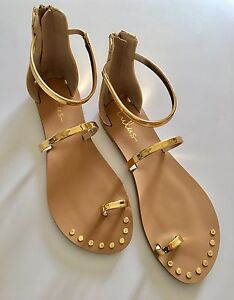 Gold Flat Ankle Strap Sandals - Brand New