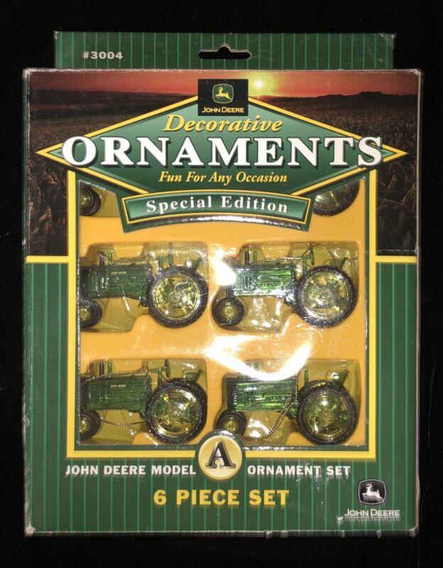 Set of 6 official John Deere Model A Decorative Christmas ornaments Nib
