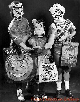 Vintage Halloween Trick Or Treaters (Three Creepy Halloween Trick-or-Treaters - Vintage Photo)