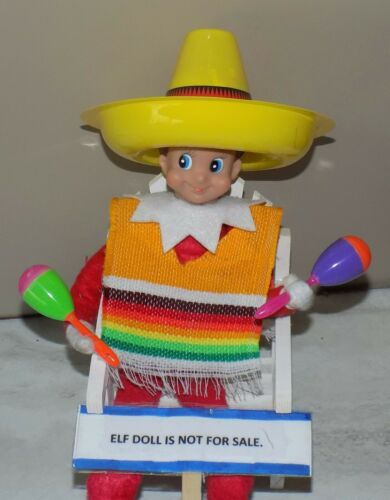 CHRISTMAS ELF PROPS MEXICAN PONCHO SOMBRERO MARACAS ON THE SHELF TOY ACCESSORIES