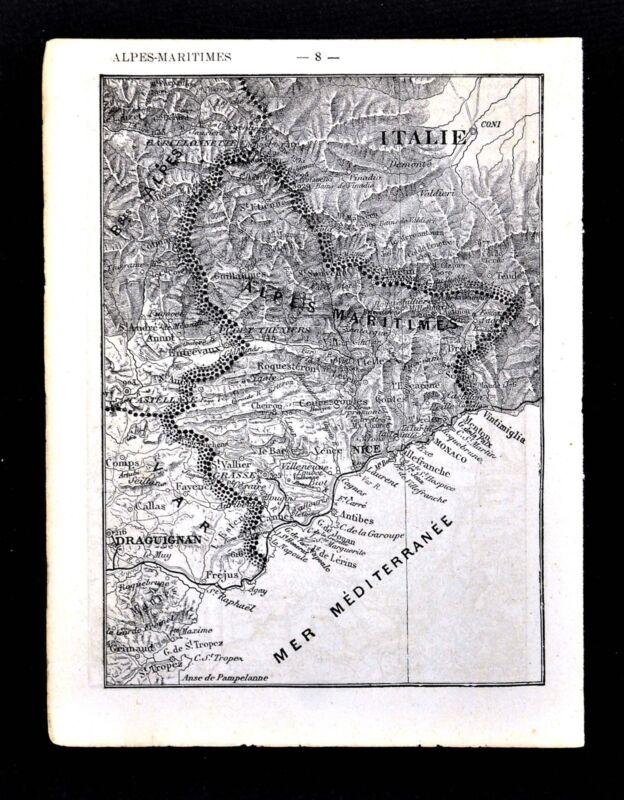 1878 France Petit Atlas Map - Alpes Maritimes & Alpes Hautes Nice Cannes Monaco