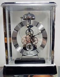 BULOVA - MANTEL CLOCK VANTAGE B2023  CHROME FINISH SKELETON CLOCK