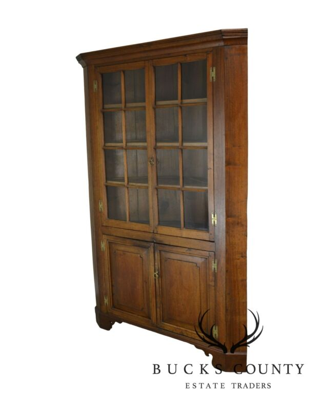 Antique American Solid Walnut Chippendale Style Corner Cabinet