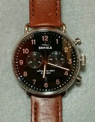 Shinola Mens Canfield Chrono 43mm Black Dial / Brown Leather Strap - New