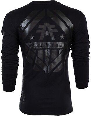 AMERICAN FIGHTER Mens LONG SLEEVE T-Shirt AVERETT Athletic BLACK Biker $54 NWT