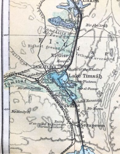 1908 Original Antique Color Map / Plan ~ THE SUEZ CANAL ~ EGYPT~ BAEDEKER Rare