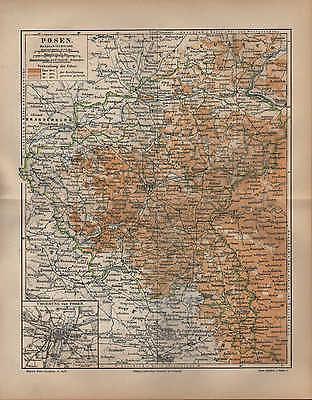 Landkarte map 1889: Preussische Provinz POSEN. Umgebung von Posen.