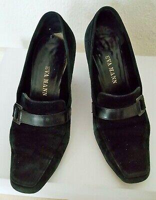 chaussure talon compensé daim noir 37 + semelle cuir marque Eva Mann d Anvers