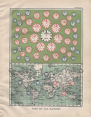 1904 Antik Aufdruck ~ Time Of All Nations Zeitzonen der Welt London Asien China (China Zeitzonen)